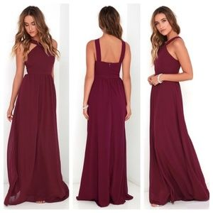 Lulu's Burgundy Air of Romance Maxi Dress